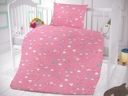 Kvalitex -  Bavlněné povlečení  do postýlky 90x135+45x60 cm - Obláčky růžové