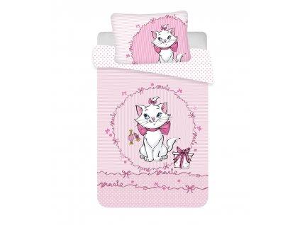 """100 x 135 cm -  Povlečení do postýlky 100x135 + 40x60 cm - Marie Cat """"Pink"""" baby"""