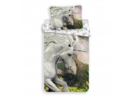 """140 x 200 cm -  Bavlněné povlečení 140x200 + 70x90 cm - Unicorn""""White"""""""