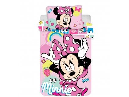 """100 x 135 cm -  Povlečení do postýlky 100x135 + 40x60 cm - Minnie """"Pink Square"""" baby"""