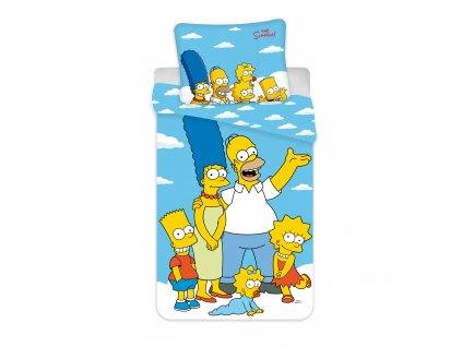 """140 x 200 cm -  Bavlněné povlečení 140x200 + 70x90 cm - The Simpsons family """"Clouds 02"""""""