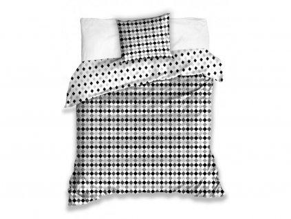 Bavlněné povlečení -  Bavlněné povlečení 140x200 + 70x90 cm - Raster šedé