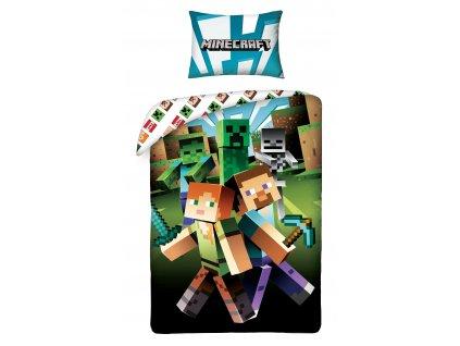 140 x 200 cm -  Bavlněné povlečení 140x200 + 70x90 cm - Minecraft zombie