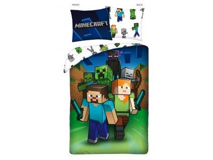 140 x 200 cm -  Bavlněné povlečení 140x200 + 70x90 cm - Minecraft  Characters