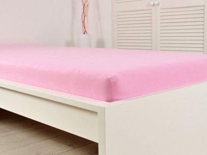 Napínací prostěradlo jersey s gumou světle růžová 160x200 (170g/m2)