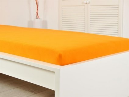 Jersey elastické prostěradlo oranžové 160x200 s gumou
