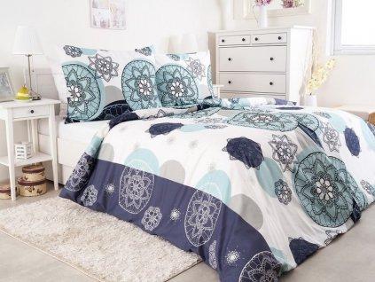 Saténové ložní povlečení z bavlny Tenerifa modrá 140x200