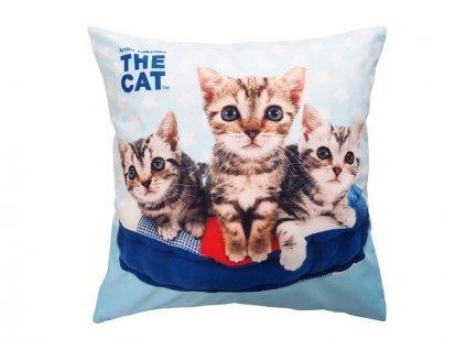 Dětský dekorační polštářek s 3D fototiskem Tři koťata 40x40