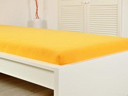 140 g_m2 -  Jersey napínací prostěradlo sytě žluté 160x200 s gumou