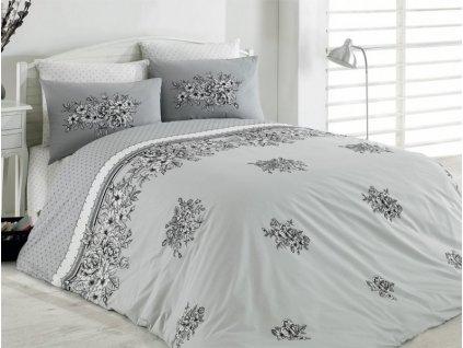 Bavlněné povlečení Deluxe Primavera šedá 140x200 + 2x povlak na polštář