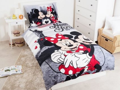 Bavlněné dětské povlečení Mickey a Minnie v New Yorku 140x200
