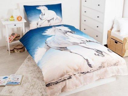 Bavlněné povlečení 3D fototisk Kůň Bělouš 140x200