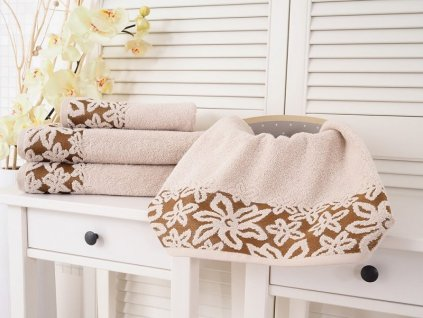 Bavlněný měkoučký ručník Flower béžová s květinovou výšivkou 50x90