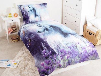 Svítící povlečení z bavlny Jednorožec 140x200