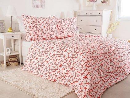 Krepové nežehlivé povlečení z bavlny Starfish červená 140x200