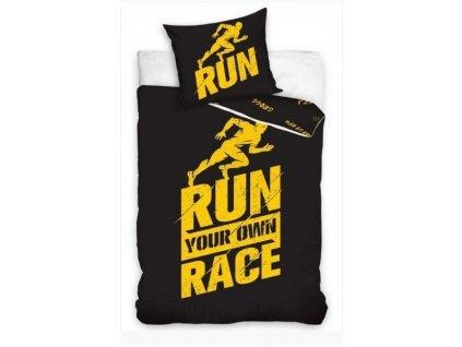 Dětské povlečení -  Perkálové povlečení 140x200 + 70x90 cm - Run Race černé