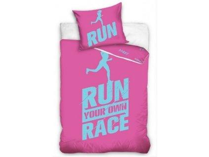 Povlečení Licenční perkálové Run Race Růžové 140x200