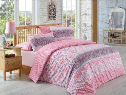 Bavlněné povlečení 140x200 + 70x90 + 50x70 cm - Irene růžové
