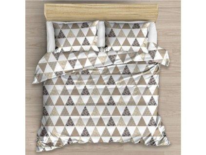 Bavlněné hebké povlečení s geometrickými vzory Triangl béžová 140x200