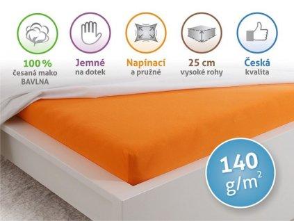 4973 prosteradlo jersey cesana bavlna mako 90x200 cm oranzova