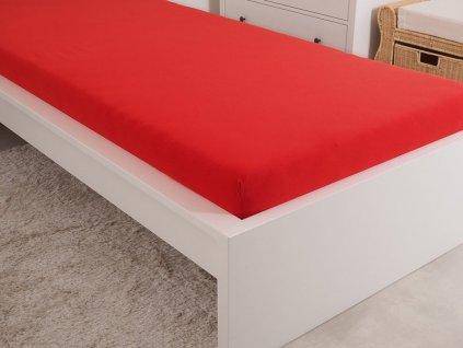 Mako Jersey prostěradlo červená 90x200