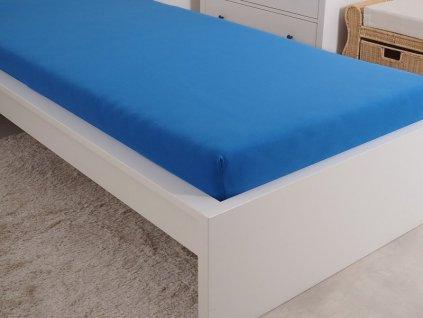 Luxusní české napínací prostěradlo jersey mako královsky modrá 90x200