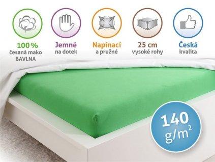 Jersey prostěradlo z mako bavlny na jednolůžko jarní zelená 90x200