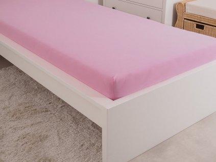 Luxusní mako jersey prostěradlo české výroby obšité gumou růžová 180x200
