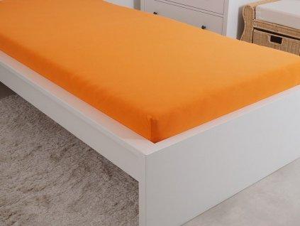 Prostěradlo z mako bavlny obšité gumou oranžová 180x200