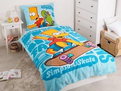 Bavlněné dětské povlečení Bart Simpson modrá 140x200