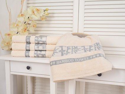 Bavlněný froté ručník 50x90 Bamboo - White cream