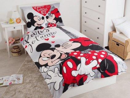 140 x 200 cm - JERRY FABRICS Povlečení Mickey a Minnie Paříž Eiffelova věž 140x200 70x90