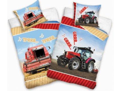 Bavlněné povlečení s fototiskem Kombajn a traktor 140x200