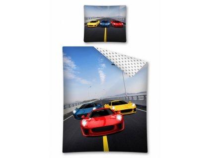 Licenční bavlněné povlečení se zipem Závodní auta 140x200
