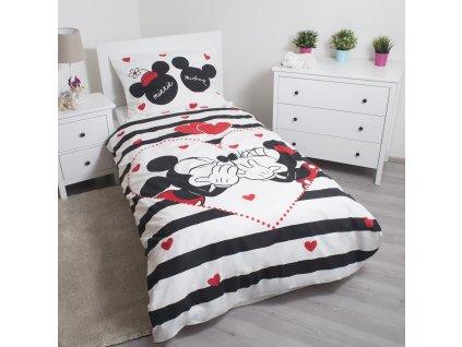 140 x 200 cm -  bavlna povlečení Mickey a Minnie ? Disney - pruhy 140x200 70x90
