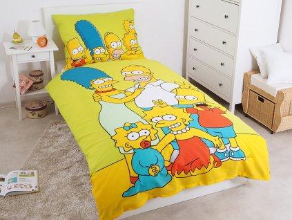 Bavlněné povlečení 140x200 + 70x90 cm - The Simpsons Family green