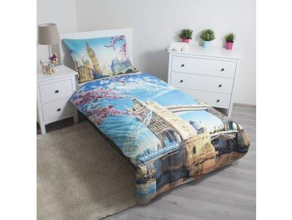 140 x 200 cm -  Povlečení Londýn blue bavlna 140x200 70x90