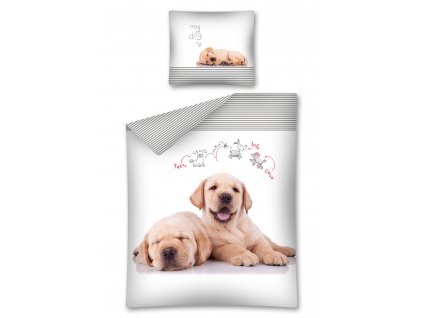 Bavlněné povlečení fototisk 3D Pes a štěně 140x200 cm