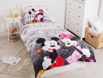 140 x 200 cm -  Bavlněné povlečení 140x200 + 70x90 cm Mickey a Minnie in Rome