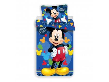 70 x 90 cm -  Jemné povlečení se zipem z mikrovlákna 140x200 - Mickey blue 03