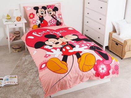 Dětské povlečení -  Dětské jemné povlečení se zipem z mikrovlákna 140x200 - Mickey a Minnie Kiss