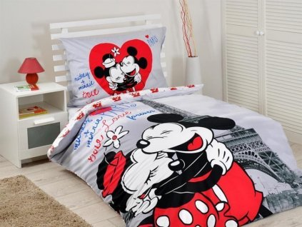 Bavlněné povlečení Mickey a Minnie v Paříži bavlna 140x200