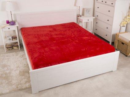 Hřejivé prostěradlo mikroflanel De Luxe červené 180x200