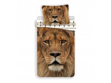 Bavlněné povlečení 3D fototisk se zipem Lion 03 140x200