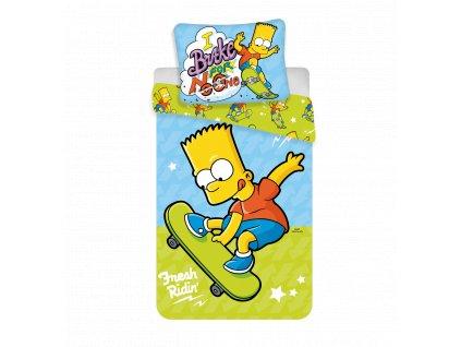 Bavlněné licenční dětské povlečení 140x200+70x90 - Bart 03 Skate