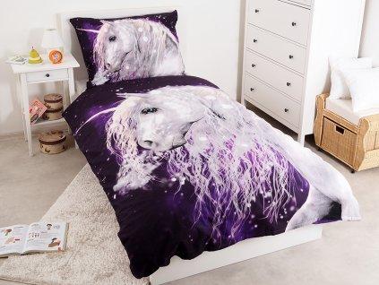 Bavlněné licenční dětské povlečení 140x200+70x90 - Unicorn Purple