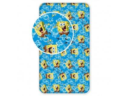 Dětská prostěradla -  Dětské licenční prostěradlo z bavlny Sponge Bob blue 90x200 cm