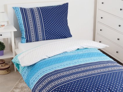 140 x 200 cm -  Bavlněné povlečení 140x200 + 70x90 cm - Summer modré