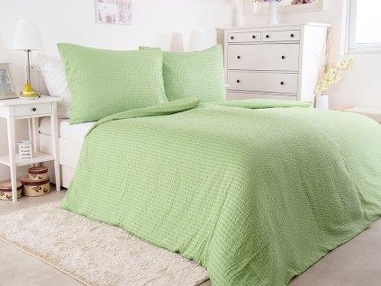 Luxusní mikrokrepové nežehlivé povlečení 140x200 - green