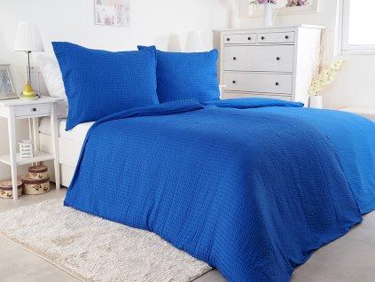 Luxusní mikrokrepové nežehlivé povlečení 140x200 - blue
